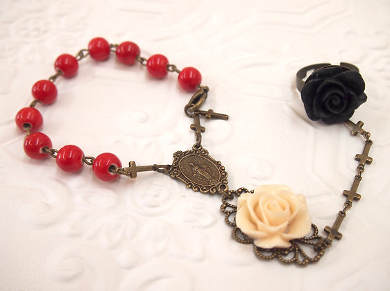 rosary bracelet MEXICAN RED CREAM & BLACK