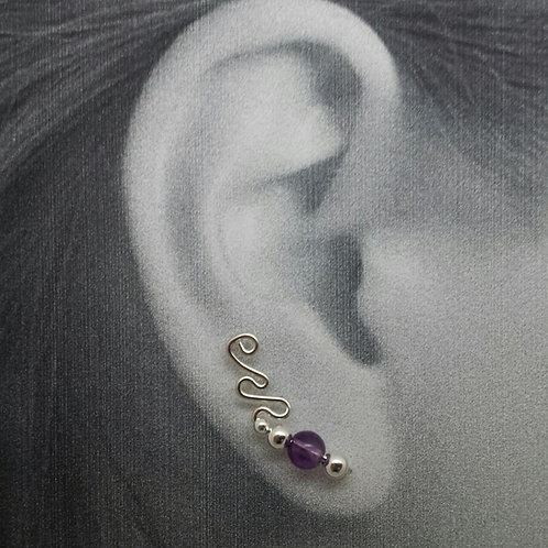 """""""CURLY Q """"STYLE EAR-UPS WITH STONE BEADS"""