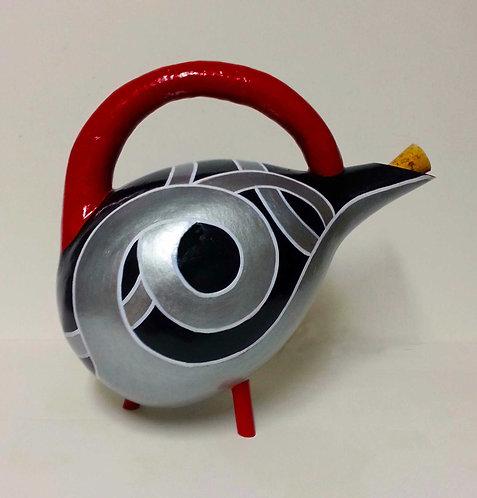 Deco Argent & Rouge Gourd Teapot