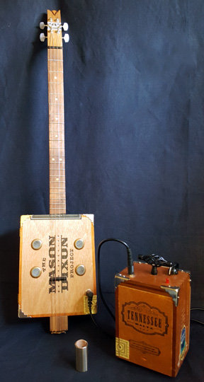 MASON-DIXON and TENNESSEE WALTZ CIGAR BOX ELECTRIC SLIDE GUITAR & AMP model #002