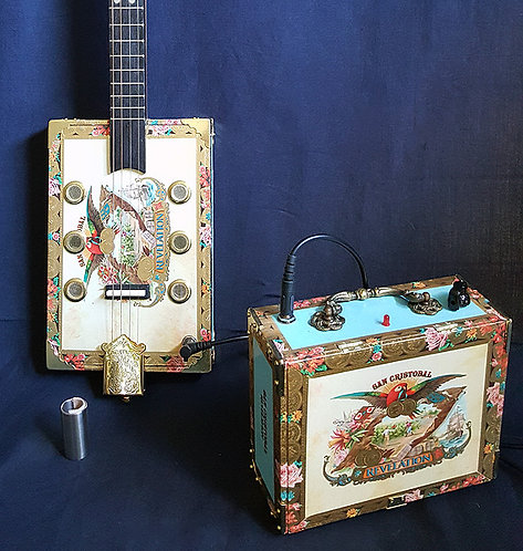 THE REVELATION CIGAR BOX SLIDE ELECTRIC GUITAR and MATCHING AMP model #003