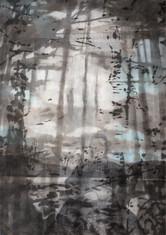 SEA WOMAN Mischtechnik Papier auf Holz 200 x 140 cm 2009