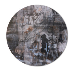 SHE Mischtechnik  Papier auf Holz 67 cm Durchmesser 2009