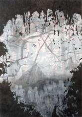 CAVE Mischtechnik Papier auf Holz 200 x 140 cm 2009