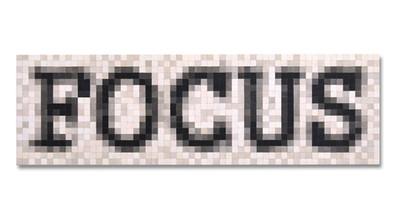 FOCUS Papier Mosaik auf Holz Kohle und Acryl 28 x 88 cm  2020