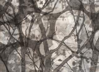 ALL THE MOONS Mischtechnik  Papier auf Holz 110 x 150 cm 2009