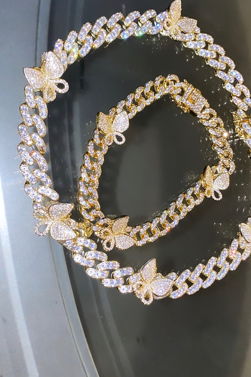Ice Box necklace Gold w/ anklet