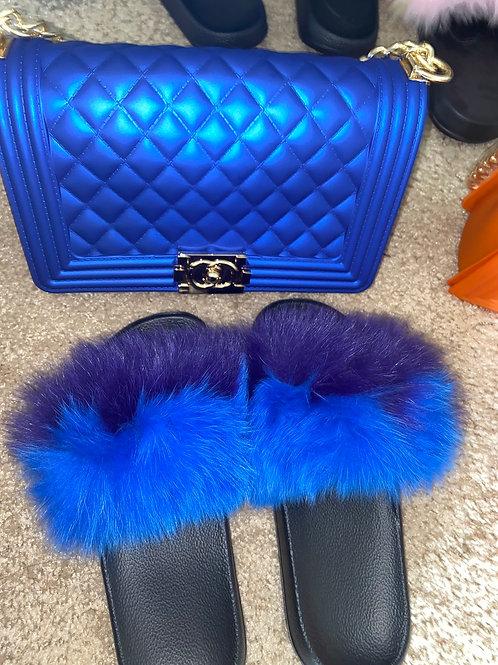 Electric Blue Fur slides ( ships next business day)