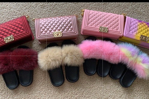 Fur Slides and Purse Set 💞 (Tan comes with burgundy purse)