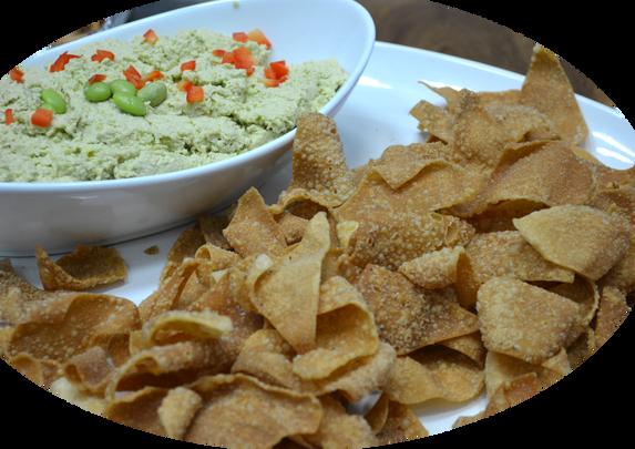 Edamame Hummus and Wonton Chips