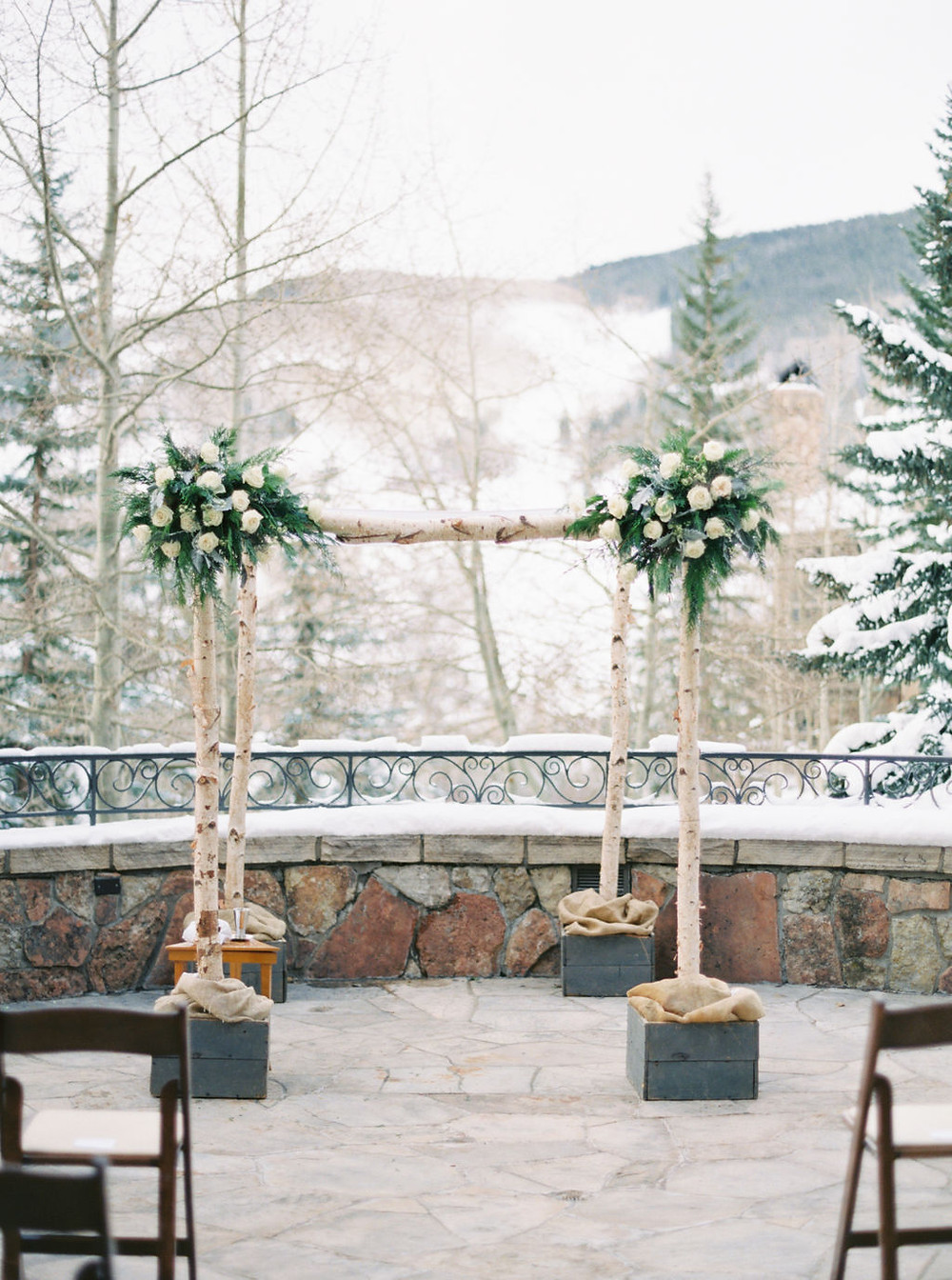 Winter Wedding in Beaver Creek. Colorado Winer Microwedding. Elopement at the Chateau.