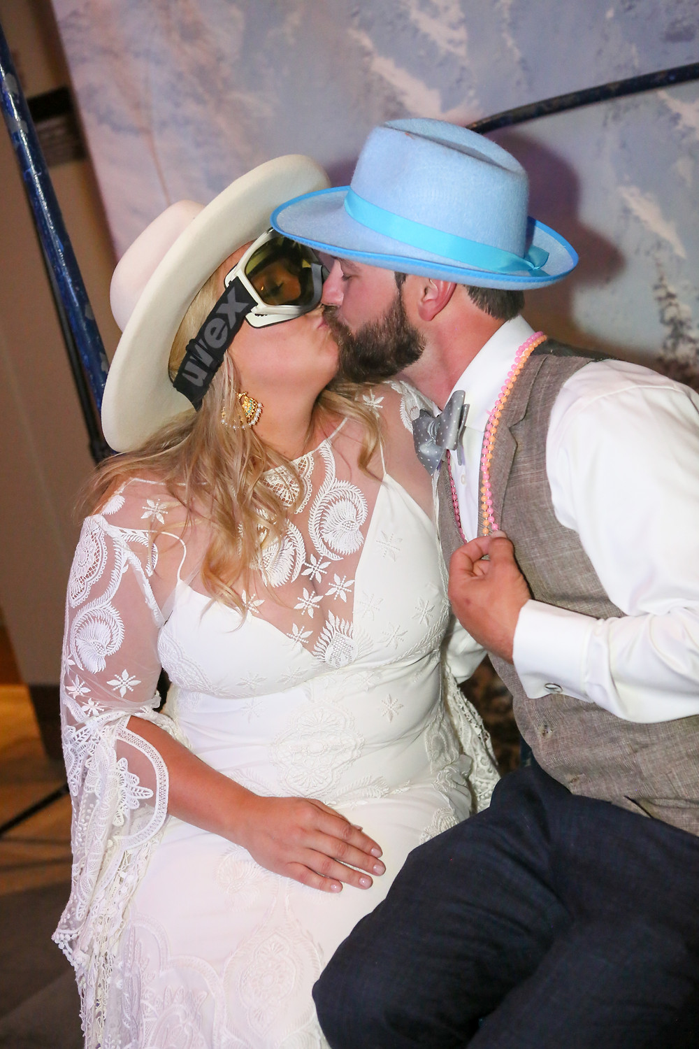 Incredible mountain wedding. Bohemian Colorado Mountain wedding. Ski Chair Photo Booth.