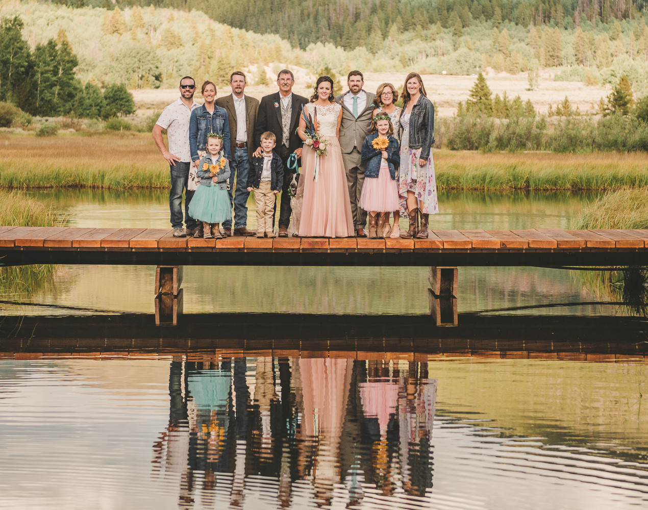 Camp Hale Fly Fishing Themed Wedding. Outdoor loving couples mountain wedding.