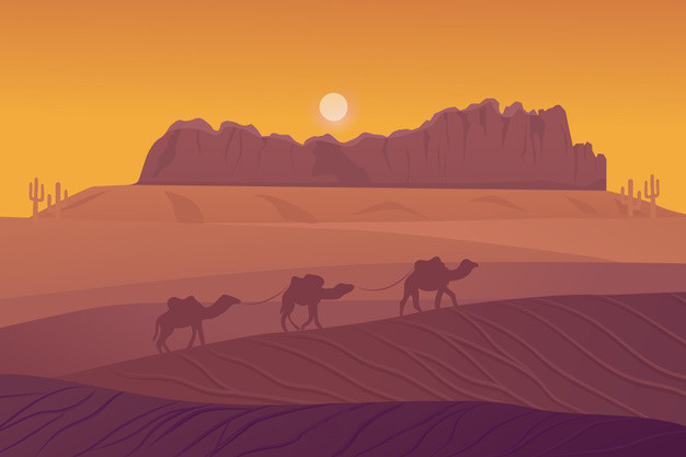 desert-landscape-background-with-camels_