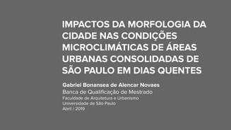 """Banca de Qualificação de Mestrado de Gabriel Novaes: """"IMPACTOS DA MORFOLOGIA DA CIDADE NAS COND"""