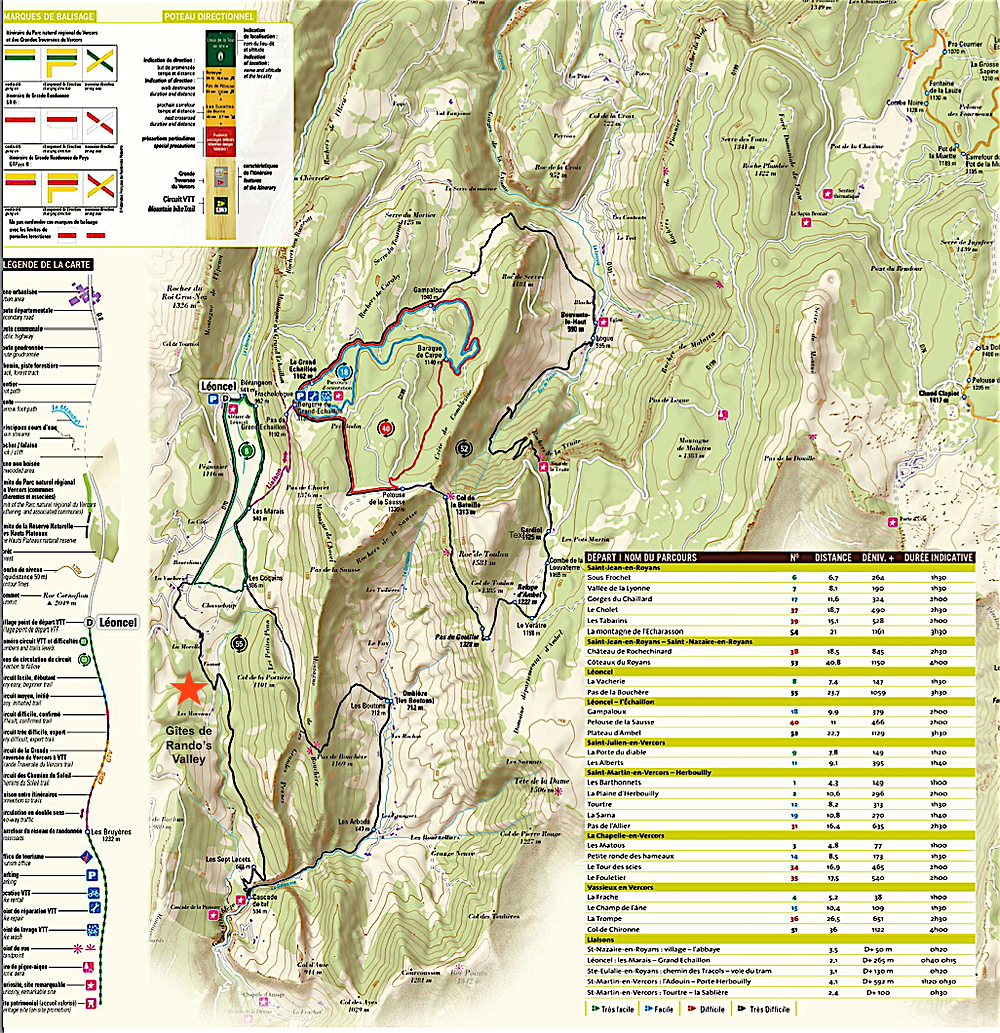 Carte des pistes VTT autour de Rando's Valley