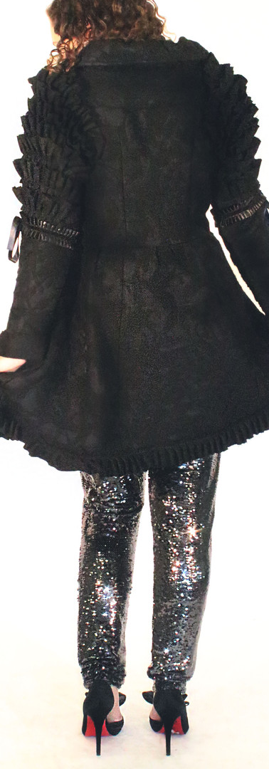 Ruffled Poe Coat Dress, and Silver Sequin Pants