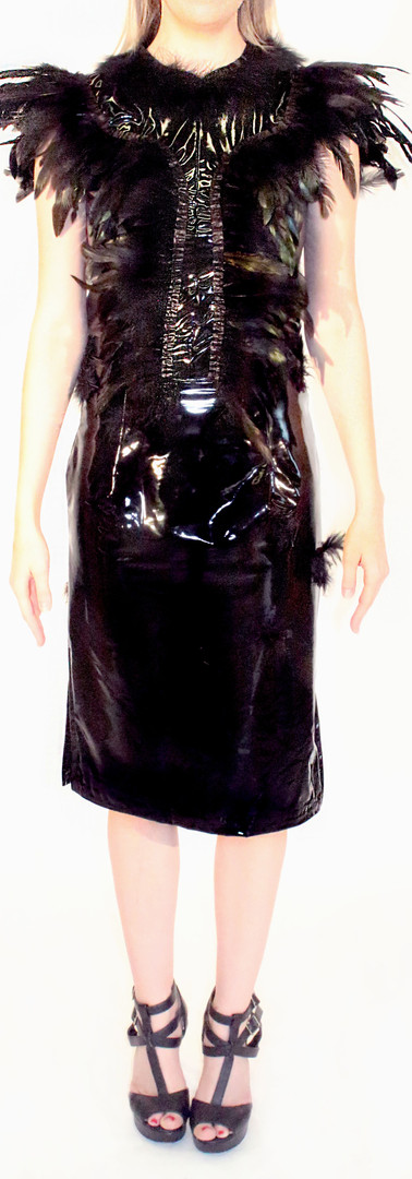 Raven Fitted Latex Pleather Feather Dress