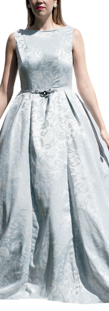 Mint Grey Patterned Gown