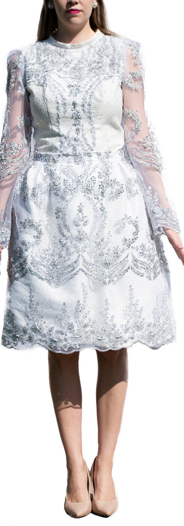 Beaded Long Sleeved Corset Top and Skirt