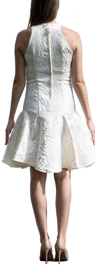 Patterned Cream Sleeveless Dress