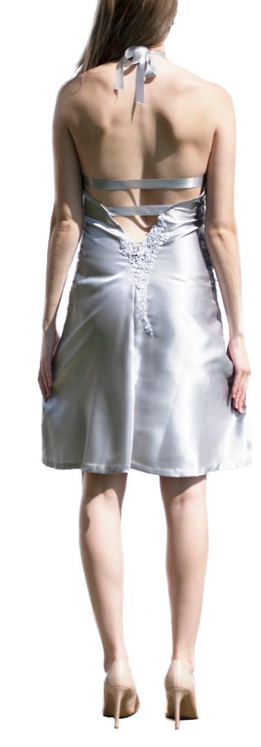 Grey Beaded Satin Bias Cut Dress