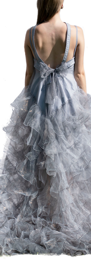 Grey Ruffle Overlay Gown