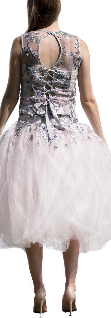 Pink and Grey Corset Top and Tulle Skort