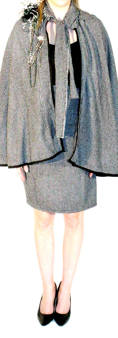 Coco Tie Front Houndstooth Cape, and Coco Pencil Skirt