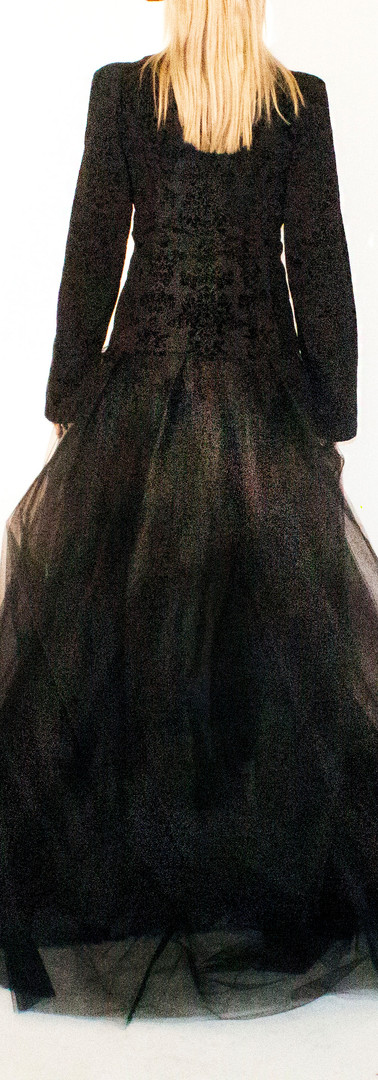 Karl Velvet Accent Pantsuit with Detachable Tulle Skirt