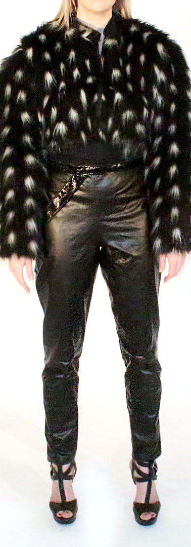 Dotty Faux Fur Jacket, and Pleather Skinny Pants