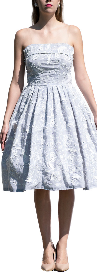 Grey and White Beaded Dress