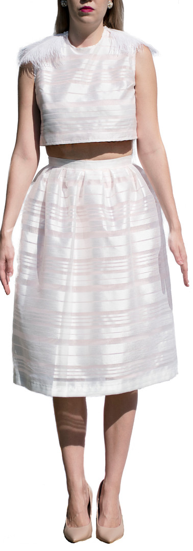 Striped Feather Tie Top and Skirt