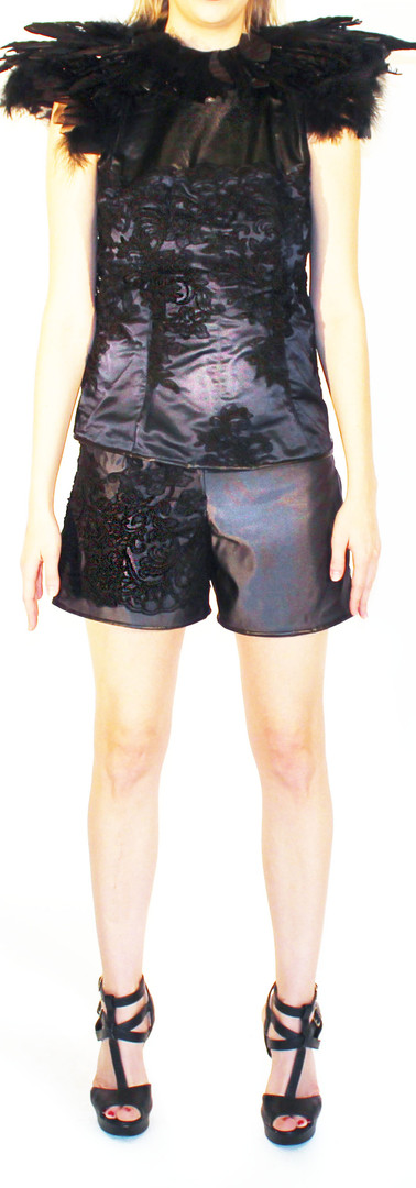 Leather and Lace Backless Top, and Mini Shorts
