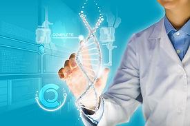 Woman scientist touching DNA molecule im