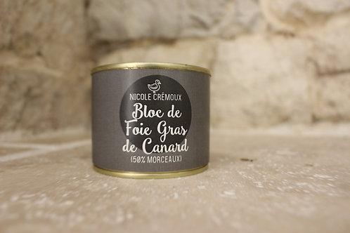 Bloc de foie gras de canard avec morceaux 200g