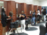 Students in cosmetology class.