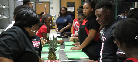 Students in culinary arts class
