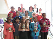Technology Fair winners smiling with their awards.