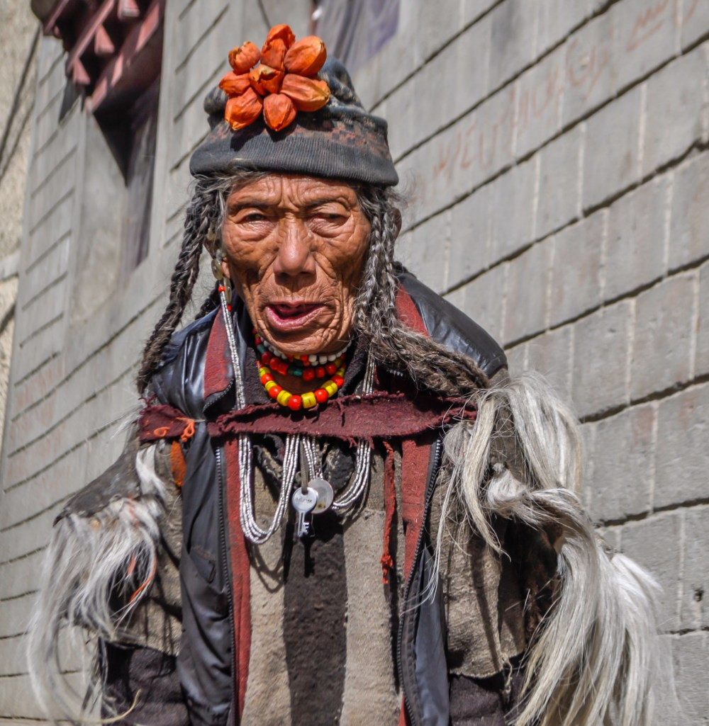 An old aged member of the Dropka tribes