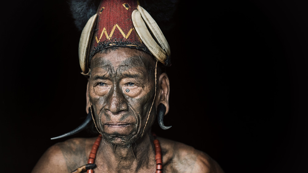 One of the last tattooed headhunter of the Konyak Tribes
