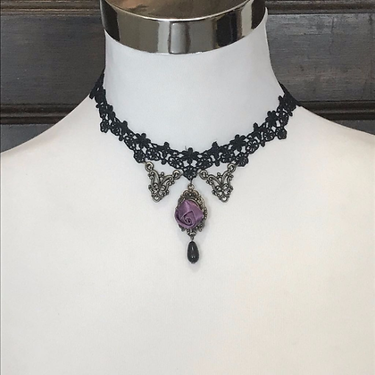 Purple Rose Lace Choker
