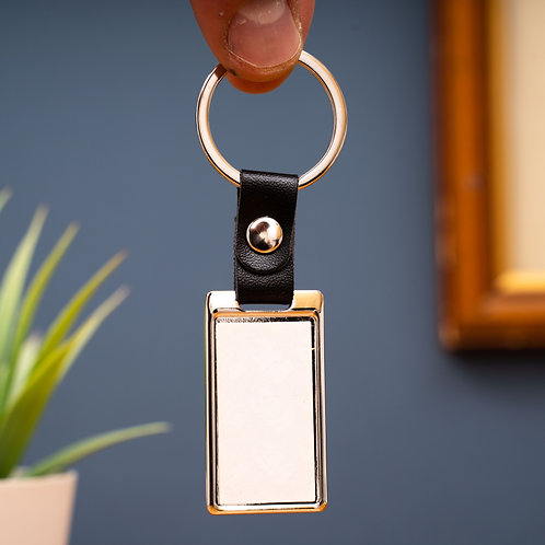 Metal Rectangular Photo Keyring With Leather Chain