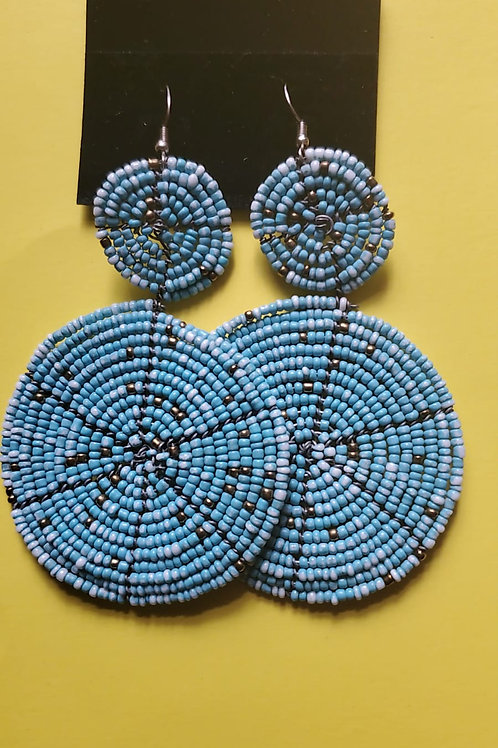 Multicolored double disc earings