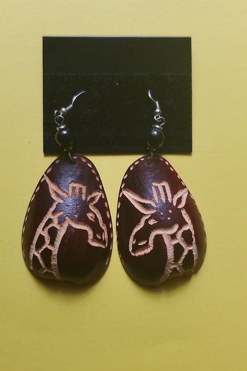Stained carved gourd earrings