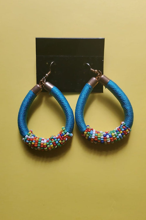 Beaded thread twist earings