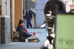 Homless person begging