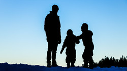 Father and sons silhouette