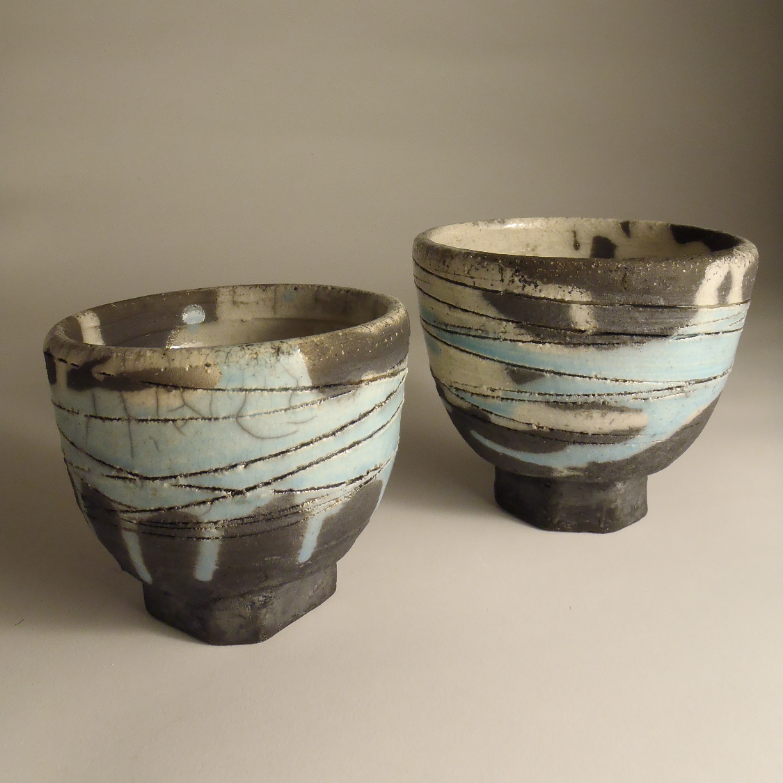 Raku tea bowl pair, 2014.