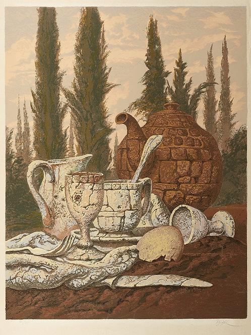 Breakfast Among the Cypresses by Samuel Bak